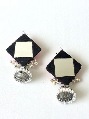 Black Jhumka Earrings with Mirror and Ghungroo