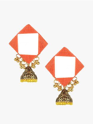 Orange-Yellow Jhumka Earrings with Mirror and Ghungroo