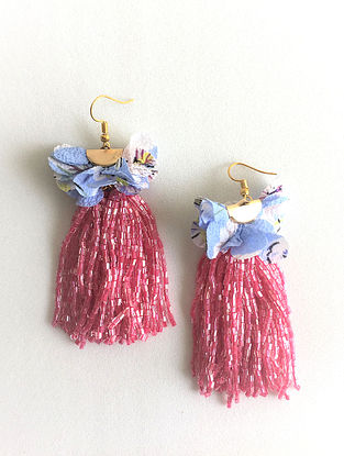 Blue-Pink Beaded Tassel Earrings