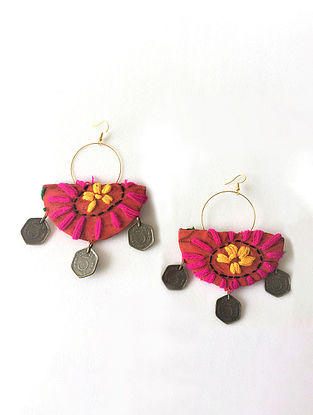 Multicolored Embroidered Earrings with Coins