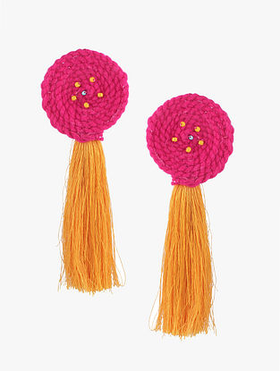 Pink-Yellow Wool Earrings with Tassels
