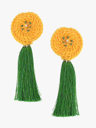 Yellow-Green Wool Earrings with Tassels