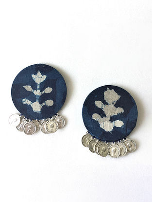 Indigo Earrings with Coins