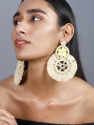 Beige Yellow Handcrafted Rafia Earrings