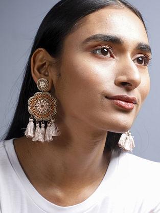 Brown Cream Beaded Earrings with Tassels