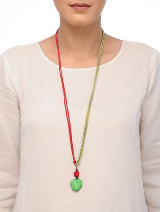 Red Coral and Green Howlite Necklace