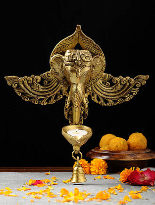 Brass Diya with Lord Ganesha Design (L:4.6in, W:10.3in, H:11.5in)