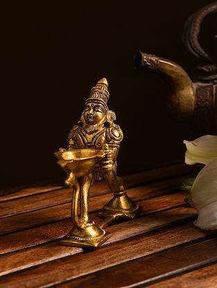 Brass Bramha Aarti Diya (L- 4.6in, W- 1.6in, H- 4.5in)