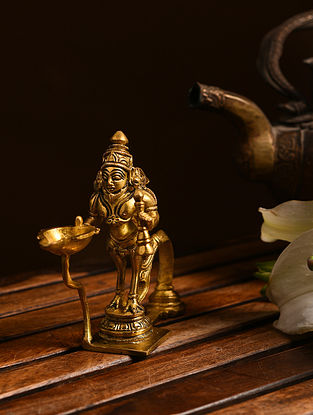Brass Hanuman Aarti Diya (L- 5in, W- 1.5in, H- 4.5in)