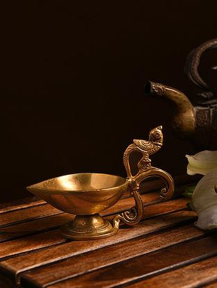 Brass Parrot Diya (L- 5in, W- 3in, H- 3.5in)
