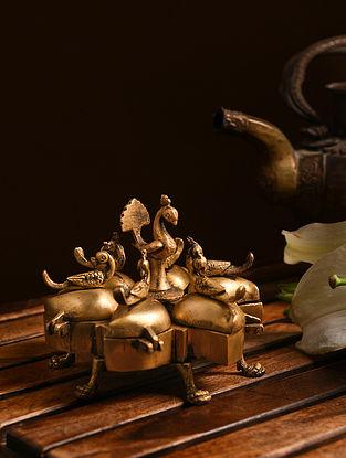 Brass Sindoor Tika Box (L- 4.5in, W- 4.5in, H- 3.7in)