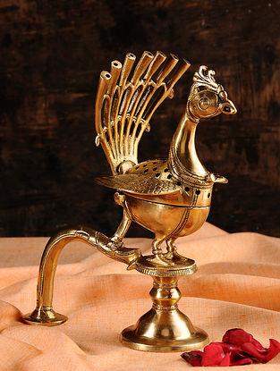 Peacock Brass Incense Holder (L- 6in, W- 4.5in, H- 8in)