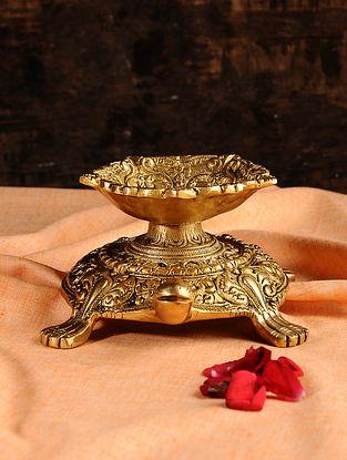 Tortoise Brass Diya (L- 8in, W- 5.5in, H- 3.5in)