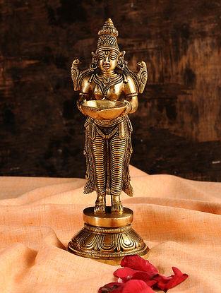 Deeplaxmi Brass Diya (L- 3.5in, W- 3in, H- 8in)