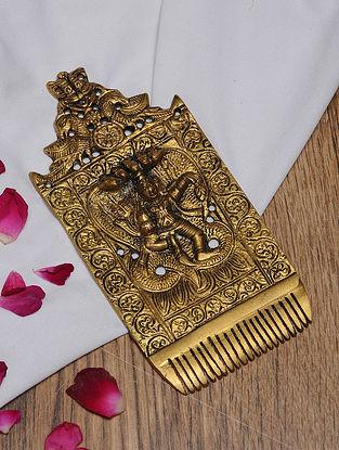 Brass Krishna Comb Tabletop Accent (L- 6in, W- 2.7in)