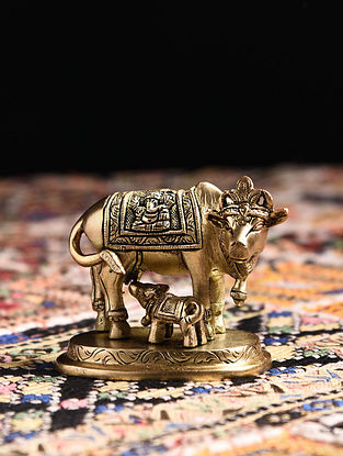 Brass Cow and Calf Tabletop Accessory (L - 3.6in, W - 2.2in, H - 2.6in)