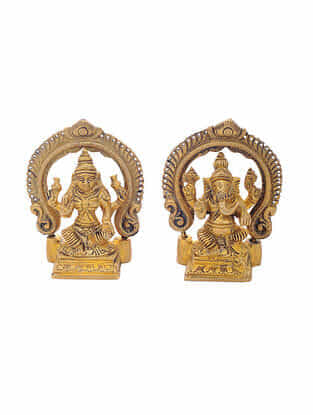 Brass Home Accent with Lord Ganesha and Goddess Laxmi Design (Set of 2) (L:1.2in, W:2.6in, H:3.5in)