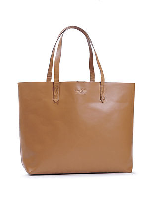 Tan Handcrafted Leather Tote Bag