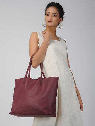 Maroon Handcrafted Leather Tote Bag
