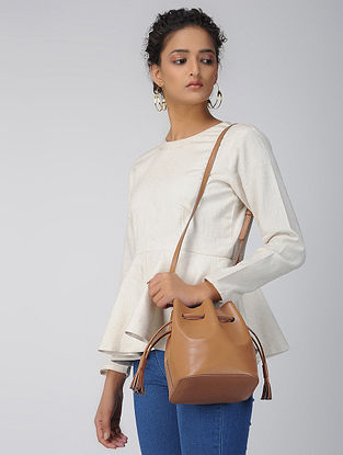 Tan Handcrafted Leather Bucket Bag