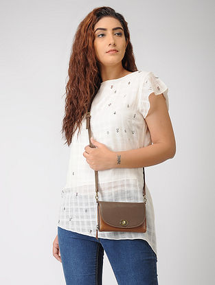 Tan Hand-Crafted Leather Flap Wallet Sling Bag