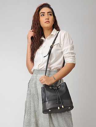 Black Hand-Crafted Leather Bucket Bag