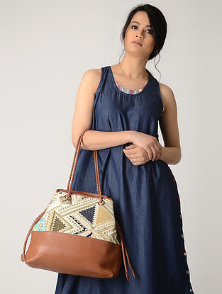 Tan-Multicolored Handwoven Jacquard Tote