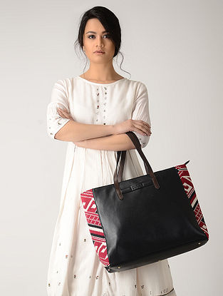 Black-Red Handwoven Jacquard Tote