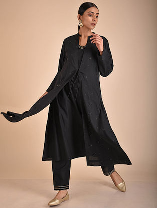 Black Mukaish Cotton Lined Jacket with Slip and Pants (Set of 3)