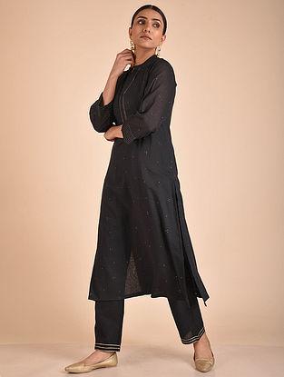 Black Mukaish Cotton Lined Kurta with Pants (Set of 2)