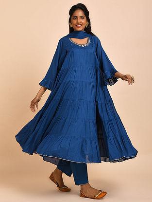 Blue Hand Embroidered Cotton Kalidar Kurta with Pants and Dupatta(Set of 3)
