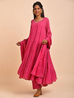 Fuschia Pink Hand Embroidered Cotton Kalidar Kurta with Pants and Dupatta(Set of 3)