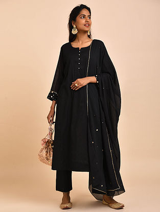 Black Hand Embroidered Cotton Lined Kurta with Pants and Dupatta(Set of 3)