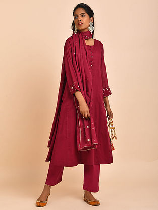 Maroon Hand Embroidered Cotton Lined Kurta with Pants and Dupatta(Set of 3)