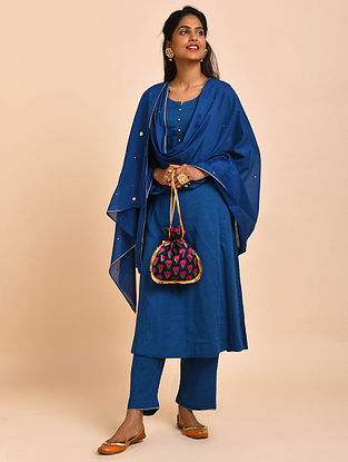 Blue Hand Embroidered Cotton Lined Kurta with Pants and Dupatta(Set of 3)