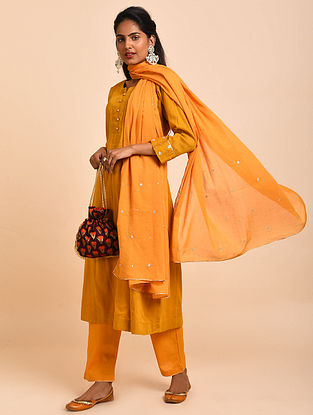 Mustard Hand Embroidered Cotton Lined Kurta with Pants and Dupatta(Set of 3)