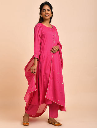 Fuschia Pink Hand Embroidered Cotton Lined Kurta with Pants and Dupatta(Set of 3)