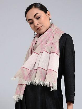 Beige-Pink Cotton Jacquard Stole