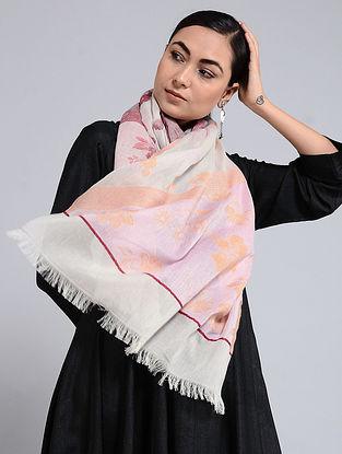 Ivory-Pink Cotton Jacquard Stole