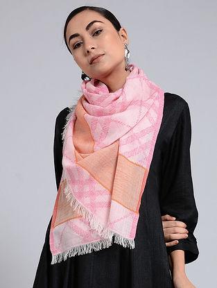Pink-Orange Cotton Jacquard Stole