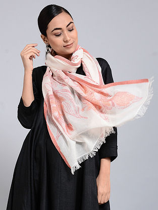 Ivory-Coral Cotton Jacquard Stole