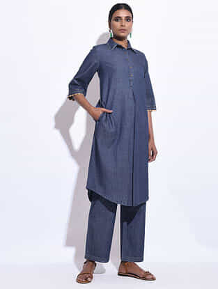 Blue Denim Hand Embroidered Dress/Kurta with Pockets