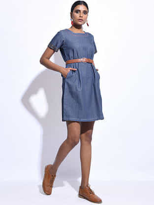 Blue Denim Hand-embroidered Dress with Pockets