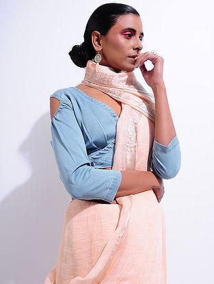 Blue Denim Cold-shoulder Blouse