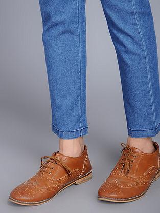 Blue Elasticated-waist Denim Jeggings