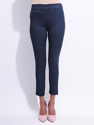 Blue Denim Elasticated-waist Jeggings with Pocket