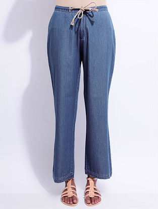 Blue Elasticated Tie-up Waist Denim Pants with Hand-embroidery