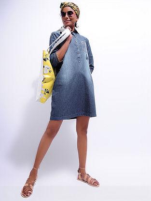 Blue Denim Hand-embroidered Dress