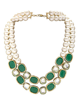 Green Gold Tone Kundan Necklace with Pearls