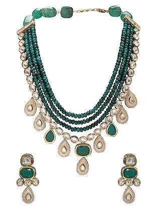 Green Gold Tone Kundan Pearl Beaded Necklace